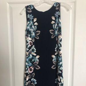 Women's WHBM reversible, blue floral dress, size 0